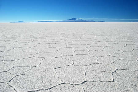 end of the world: salar de uyuni in sunlight in bolivia Stock Photo