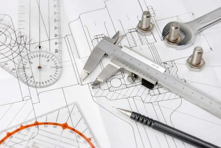 engineering design: engineering tools on technical drawing Stock Photo