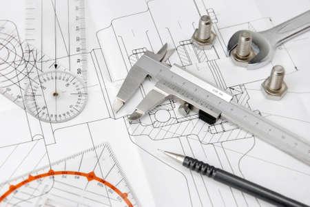 dibujo tecnico: herramientas de ingeniería en dibujo técnico Foto de archivo