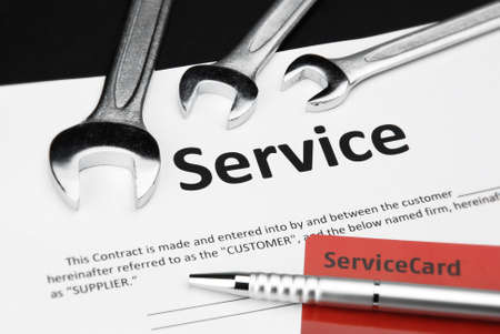Service contract with card and wrench