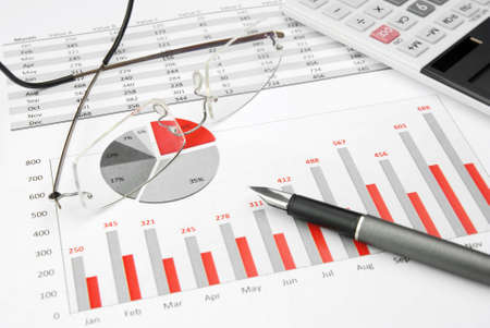 financial analysis: red Business Charts red with calculator, glasses and pen Stock Photo
