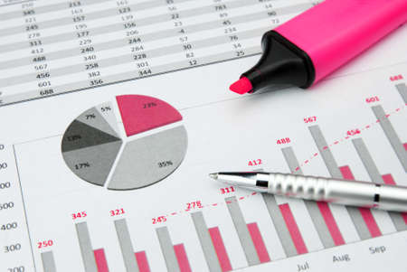 pink Business Charts with calculator and marker pen Stock Photo - 12540984