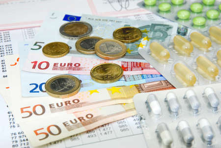 doctor money: european currency euro and health care system Stock Photo