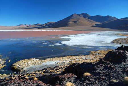 atacama: laguna colorada in bolivian desert with red copper sea