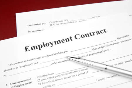 job employment contract with red background and pen