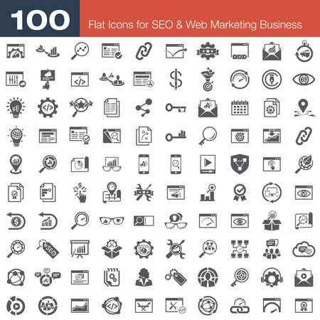 press release: Fresh & trendy flat icons for SEO services, marketing and business concepts