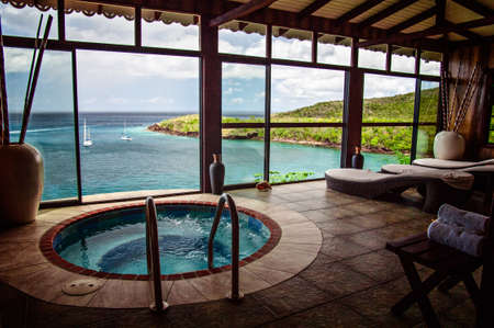 A beautiful spa in St  Lucia, that hangs over the ocean
