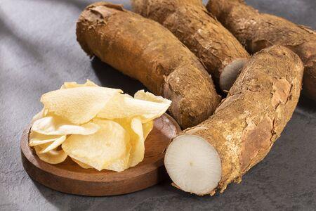 Cassava fried - Manihot esculenta. Text space