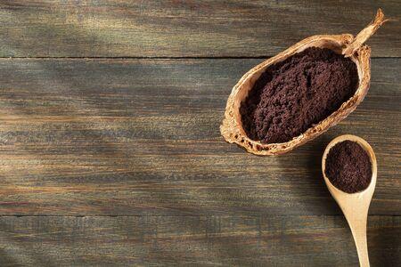 Acai berries powder - Euterpe oleracea 스톡 콘텐츠