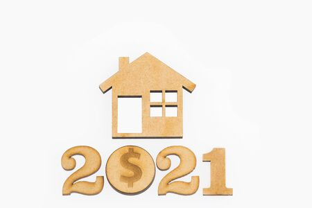 Saving for home purchase - 2021. White background Stock fotó