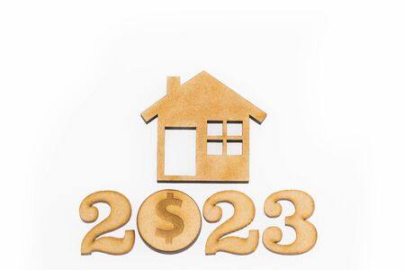 Saving for home purchase - 2023. White background Stock fotó