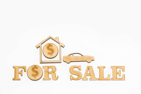 Sale of housing and car - Concept. White background