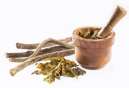 Dried stems of valerian - Valeriana officinalis. White background Stock Photo