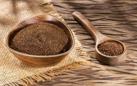 Black Tea Powder - Camellia sinensis. Text space