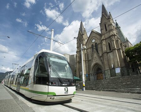 Medellin, Antioquia / Colombia - July 08, 2019. The Medellín tramway is a means of rail transportation, urban electric passenger and operates in the city of Medellín.