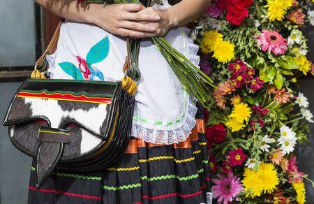 Detail of a Carriel, Silleteros Parade, Flower Fair, Medellin, Antioquia, Colombia