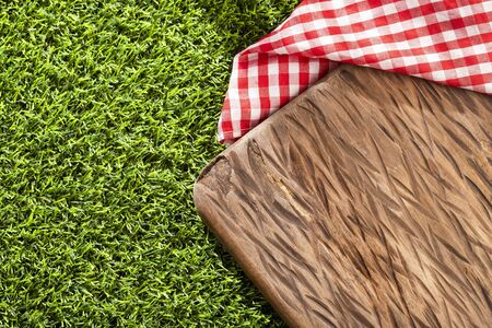 Chopping board and red checkered napkin on the green grass. Background for design