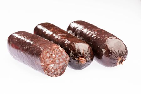 Delicious blood sausages isolated on a white background Standard-Bild