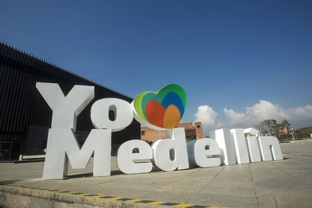 Medellín, Antioquia  Colombia - January 23, 2020. I love you Medellín, That is the message, in giant white letters, located in the Plaza Mayor square.