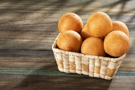 Traditional Colombian buñuelos (Deep Fried Cheese Bread) Text space
