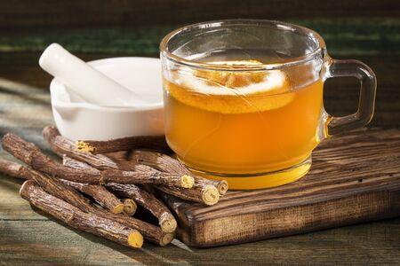 Tea and stems of licorice - Glycyrrhiza glabra.