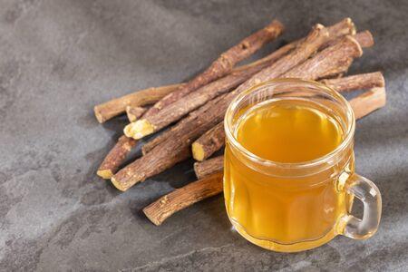 Tea and stems of licorice - Glycyrrhiza glabra