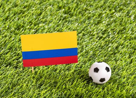 National flag of Colombia with soccer ball in the stadium