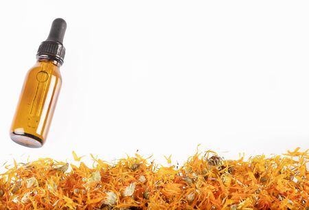 Aromatherapy essential oil with marigold flowers - Calendula officinalis. White background