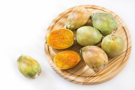 Fresh colorful cactus fruits on a white background - Opuntia ficus-indica