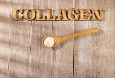 Collagen protein powder - Hydrolyzed. Strengthening and improving the health of cartilage and tendons. Stock Photo