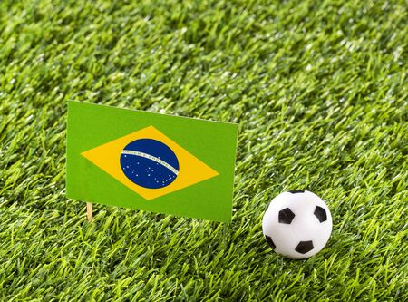 National flag of Brazil with soccer ball in the stadium