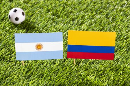 Flag of Argentina and Colombia at the football stadium - Cup America football match conmebol Brazil 2019. Standard-Bild