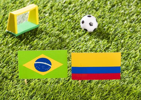 Flag of Brazil and Colombia in the football stadium - Cup America football match conmebol Brazil 2019.