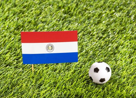National flag of Paraguay with soccer ball in the stadium