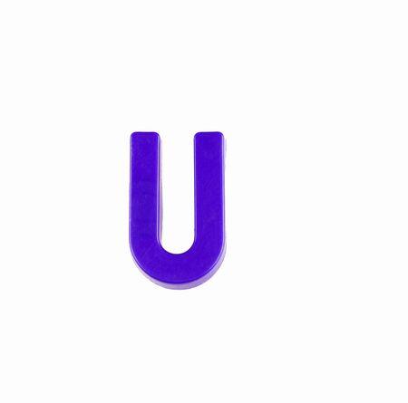 Letter U in violet color - Plastic piece