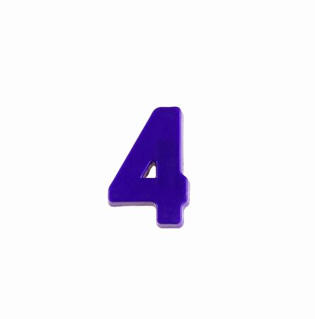 Number 4 in violet color - Plastic figure Zdjęcie Seryjne