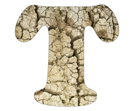 Letter T - Arid land detail Stock Photo