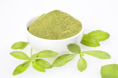 Natural sweetener in powder from stevia plant - Stevia rebaudiana.