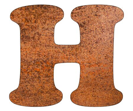 Letter H on rusty metal sheet background