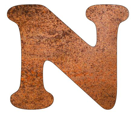 Letter N on rusty metal sheet background
