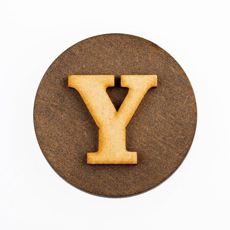 Letter Y on a wood circle - Alphabet