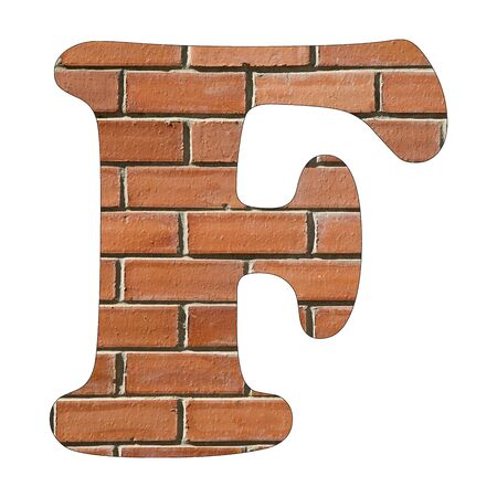 Letter F of the alphabet - Background of brick wall texture