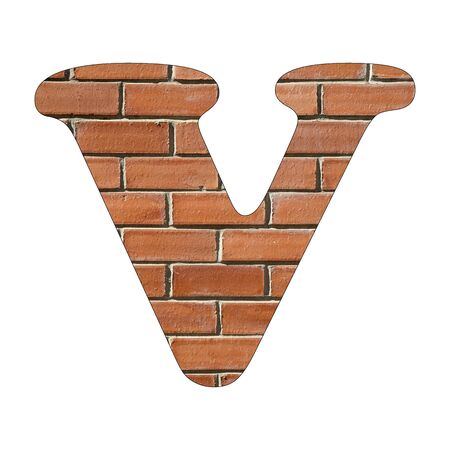 Letter V of the alphabet - Background of brick wall texture