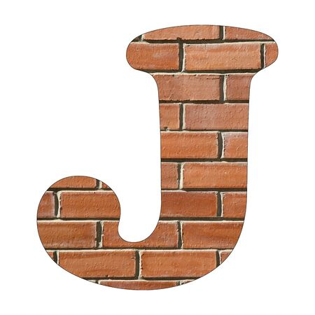 Letter J of the alphabet - Background of brick wall texture