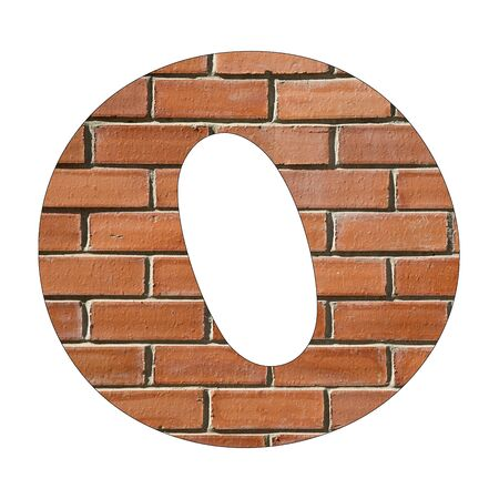 Letter O of the alphabet - Background of brick wall texture Banco de Imagens