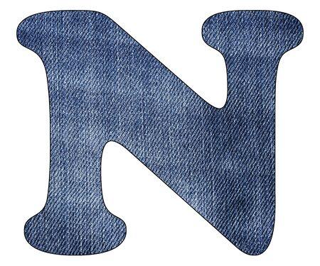 Letter N of the alphabet - Texture details of denim blue jeans