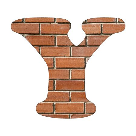 Letter Y of the alphabet - Background of brick wall texture