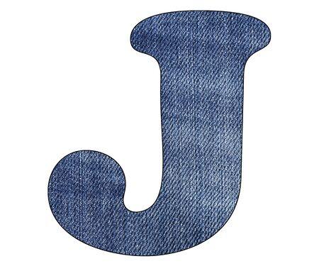 Letter J of the alphabet - Texture details of denim blue jeans