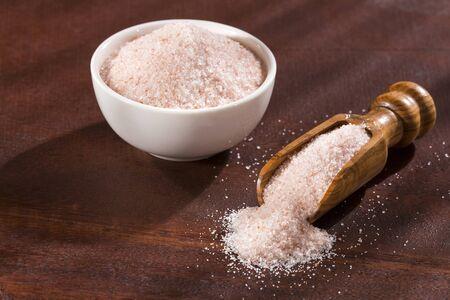 Fine pink Himalayan salt in a ceramic bowl