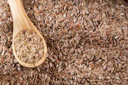 whole and crushed flax seeds - Linum usitatissimum